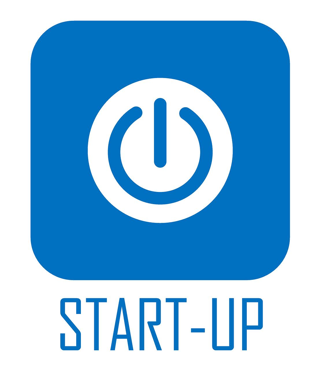 blue start-up button