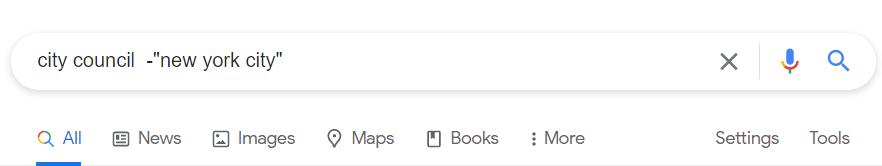 Google city council minus NYC
