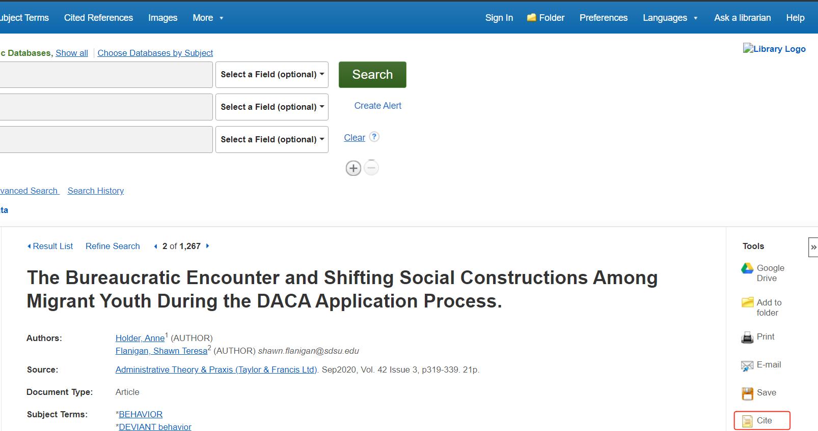 Academic Search Complete Cite Button