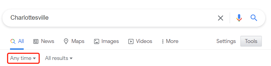 """google click on """"any time"""" for drop-down menu"""