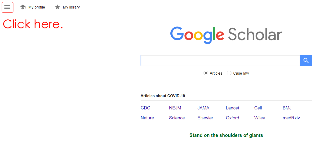 Google Scholar Homepage with Google Scholar Logo and Search Bar. Click on 3 Bars Top Left.