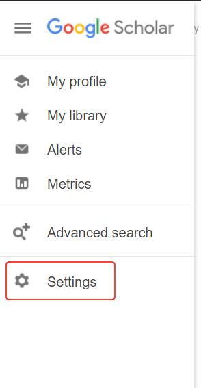 Google Scholar Settings Option on Bottom Left