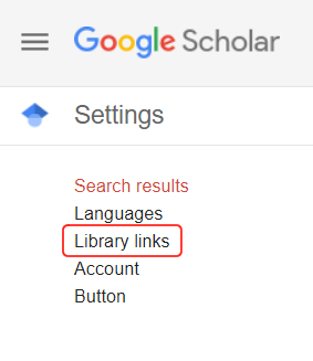Google Scholar Settings. Library Links is the second option.