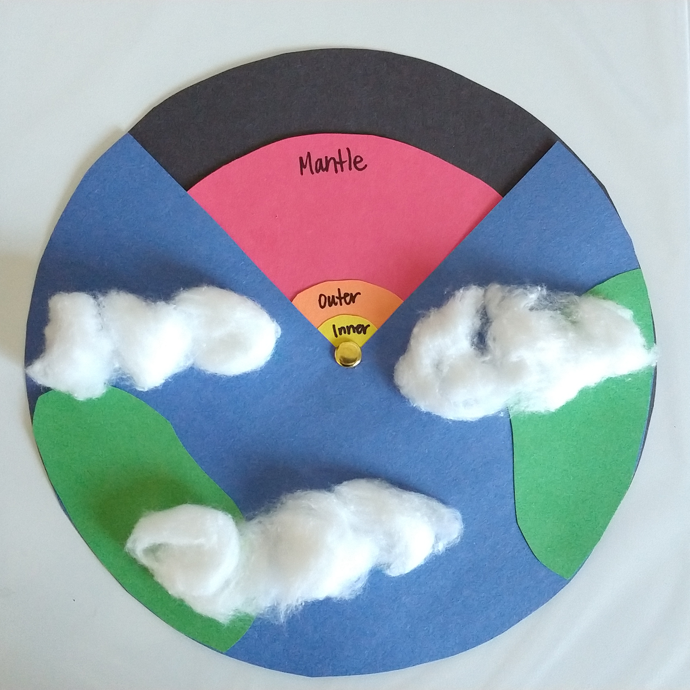 Make a model of the earth's layers with paper, scissors, markers and a brad.