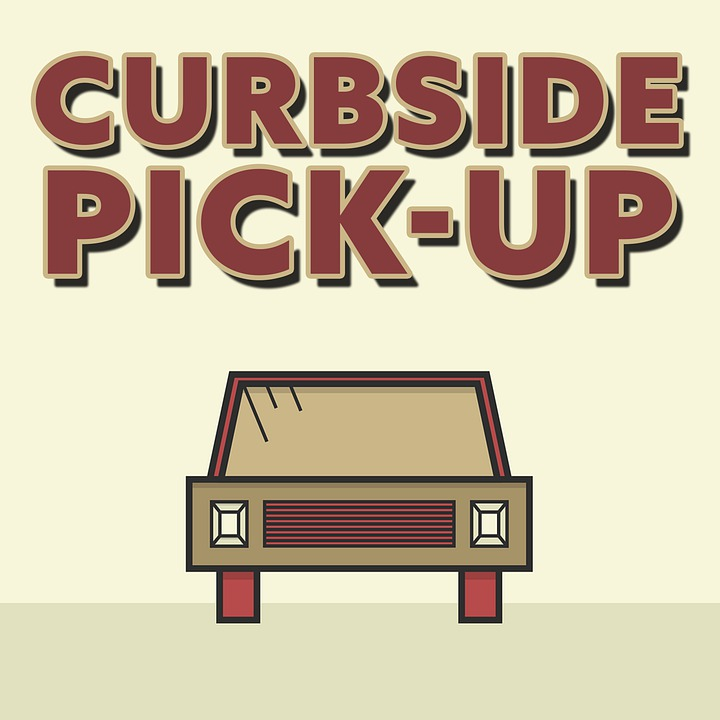Curbside Pick-up Sign with Car