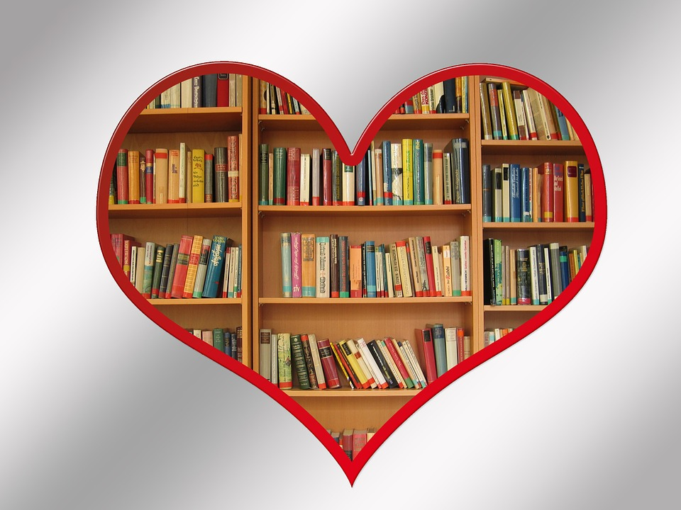 Heart with Books on Shelves