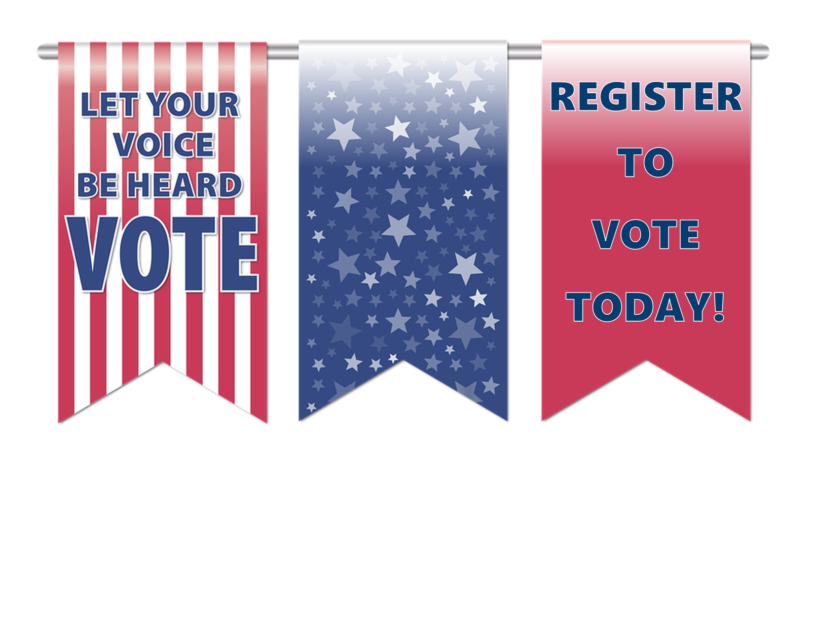 Three banners Register to Vote and Vote