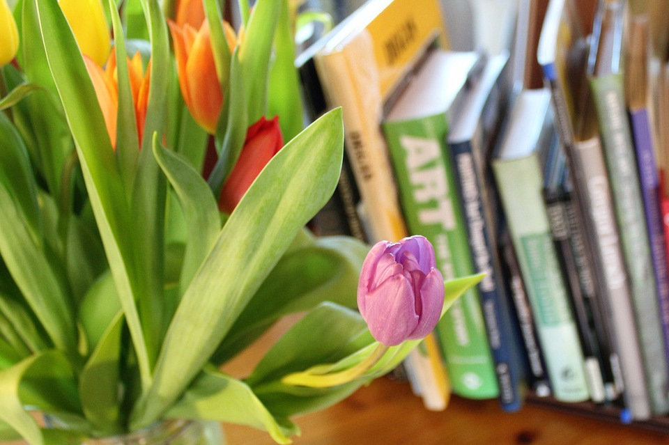 Tulips with books