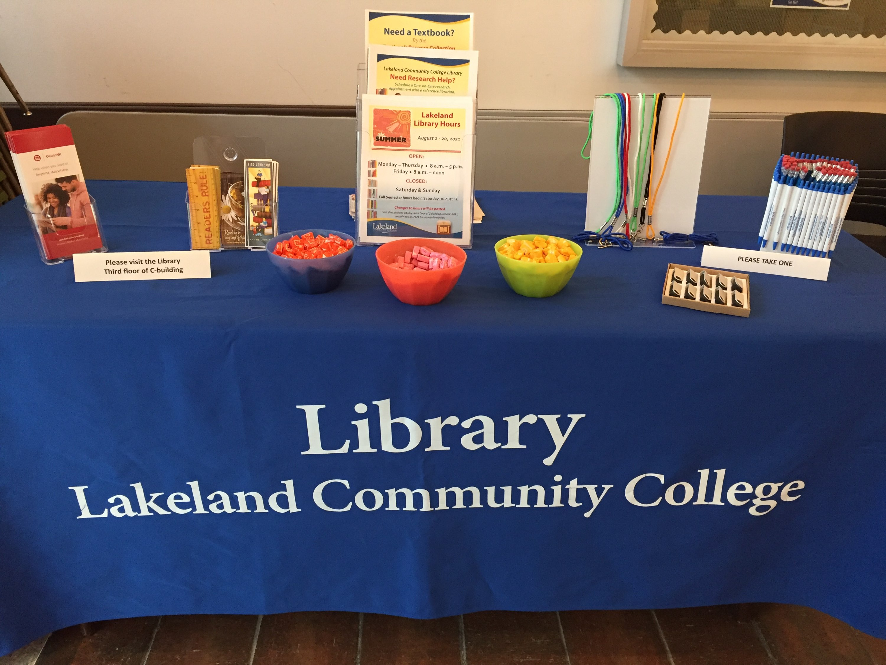 Library Welcome Days table