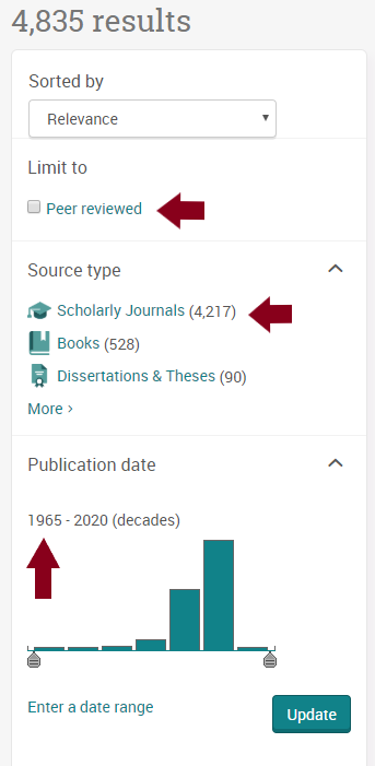 Image of PsycINFO filter options