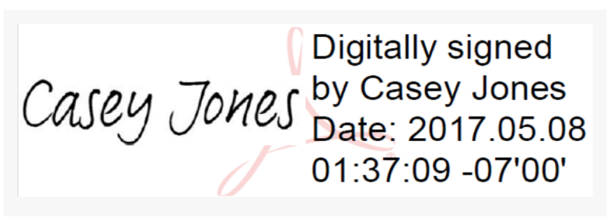 Picture of a digital signature created with Adobe Software