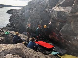 Climbing at Great Head
