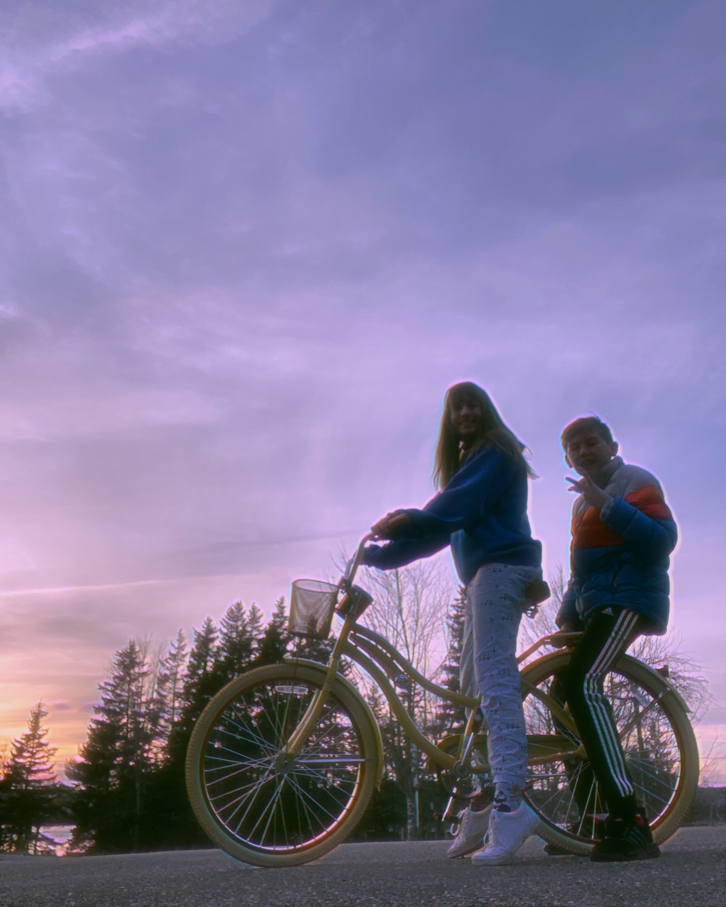 Playing on a bike