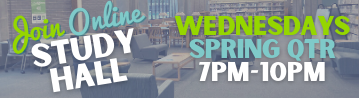 Online Study Hall Wednesdays from 7 PM to 10 PM Spring Quarter