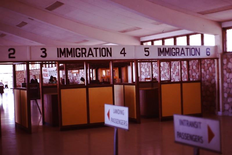 Jamaica airport immigration, 1971
