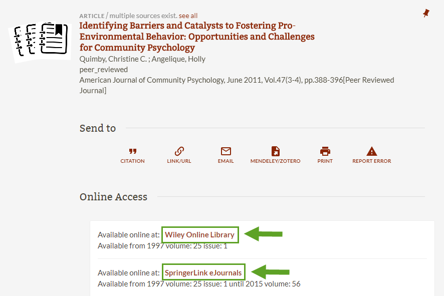 screenshot of article access links