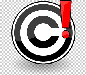 Copyright symbol with red exclamation point