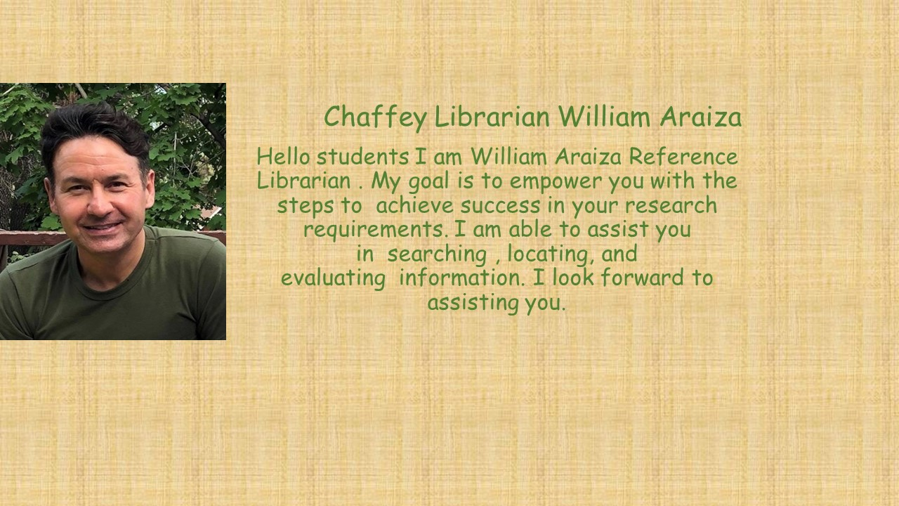 William Araiza Reference Librarian