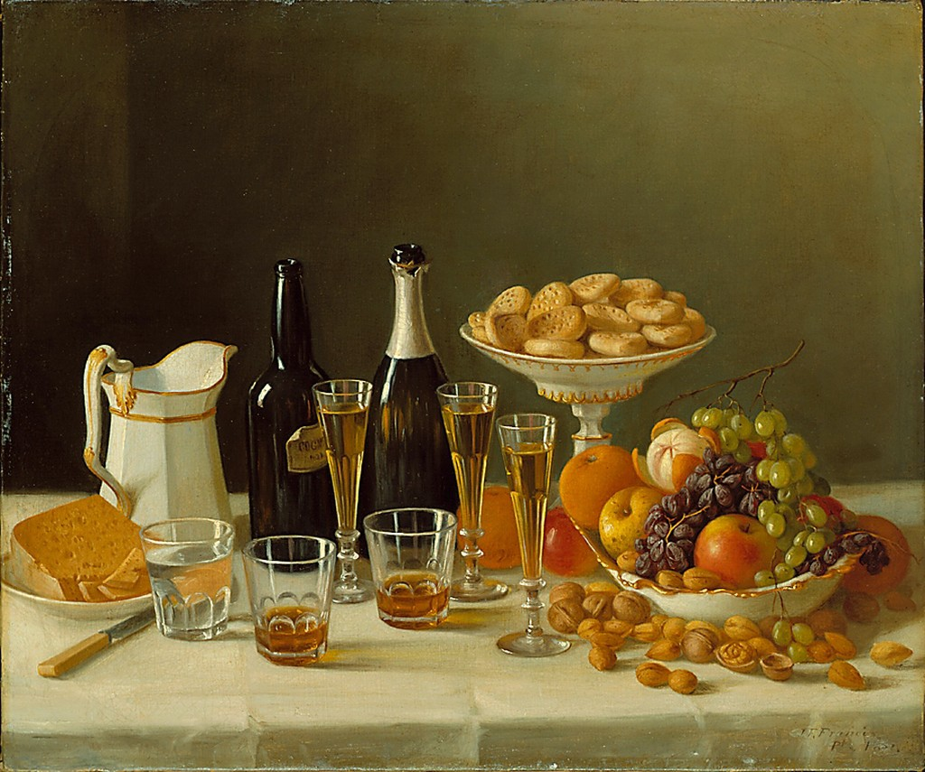 Succulent grapes, crumbling cheese, sparkling wine in elegant glasses, and cognac in tumblers are depicted in this opulent 'luncheon piece' by John Francis. Originally an itinerant portrait painter, Francis t