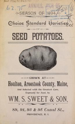 "Cover of seed catalog with drawing of potato and the title ""Season of 1894, Choice Standard Varieties, Seed Potatoes."""