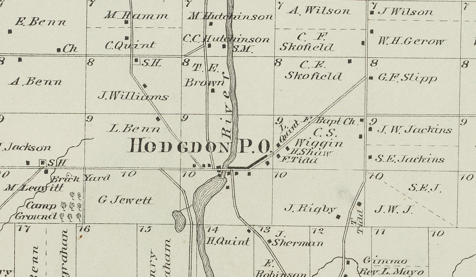 Light green map of Hodgdon with property lines and owners noted.
