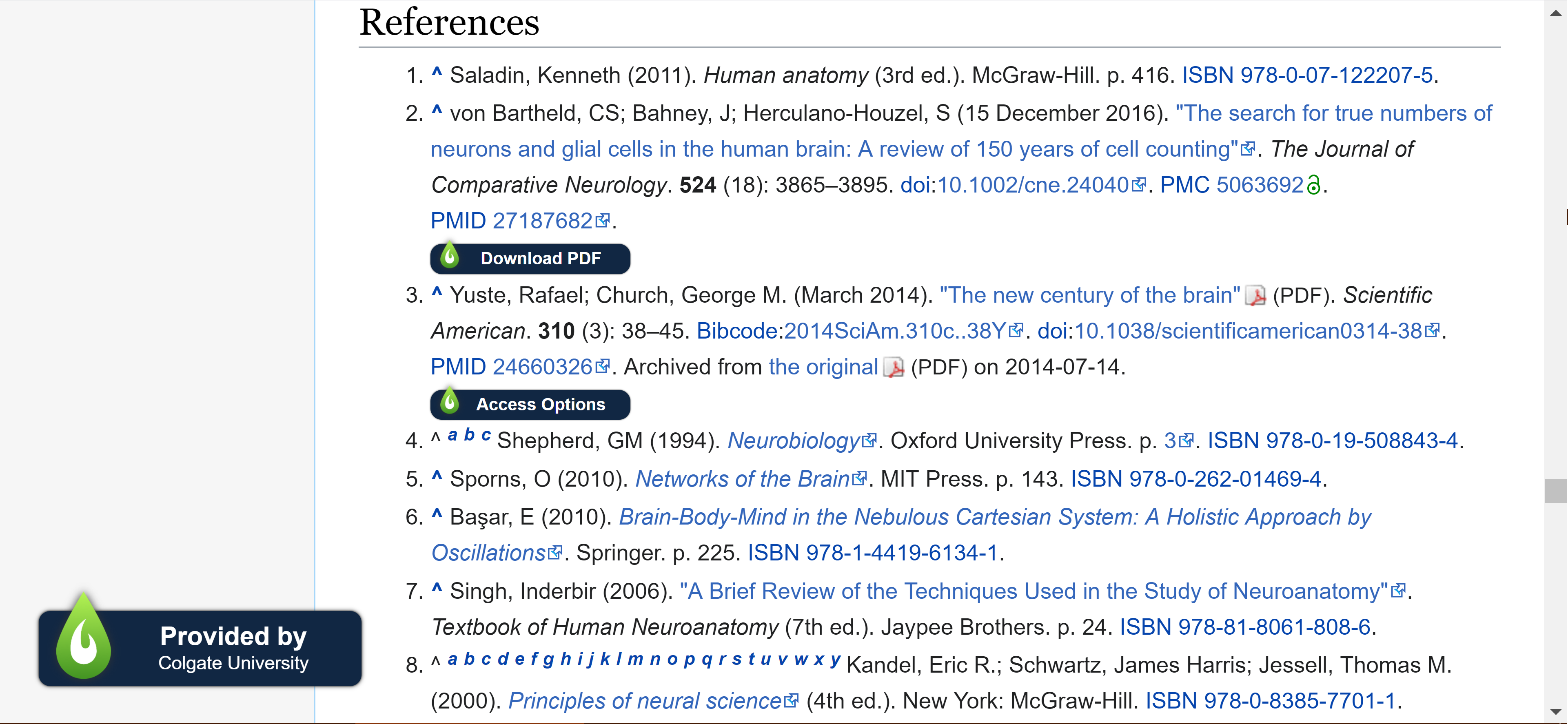 """Wikipedia references with """"Download PDF"""" buttons next to the ones available through Colgate University Libraries"""