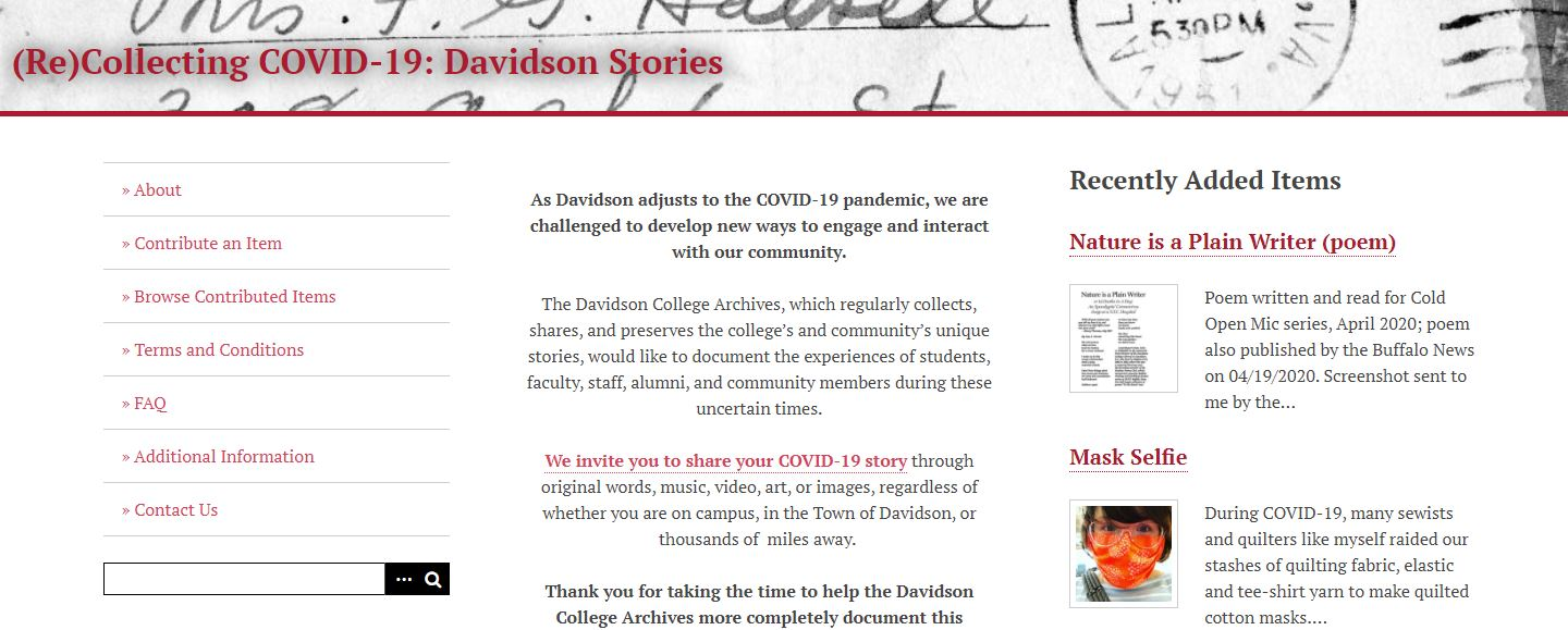 (Re)Collecting COVID-19: Davidson & Lake Norman Stories