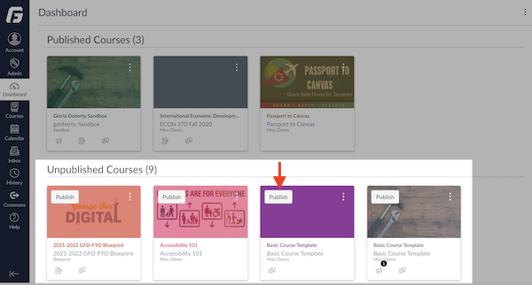 Canvas Dashboard listing of Unpublished Courses