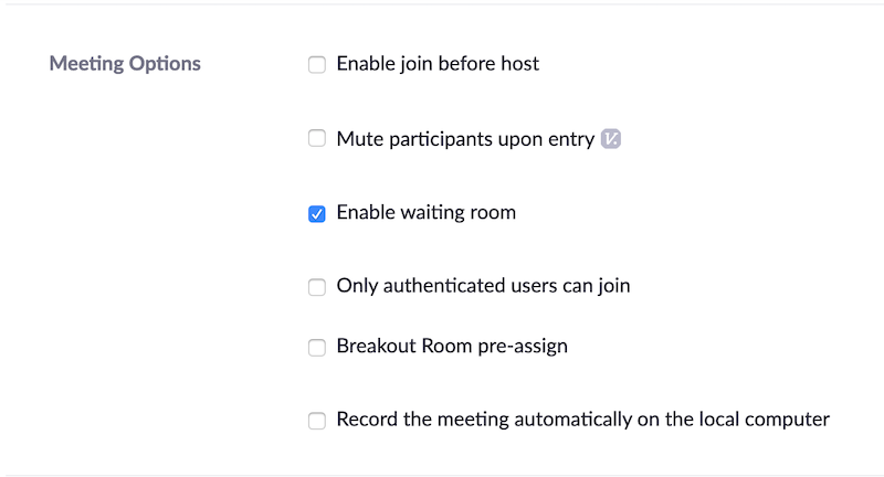 Check box for Enable waiting room