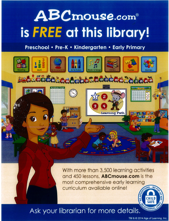 ABCmouse is free at this library!  You can access ABC Mouse for free at the library through the library's website.