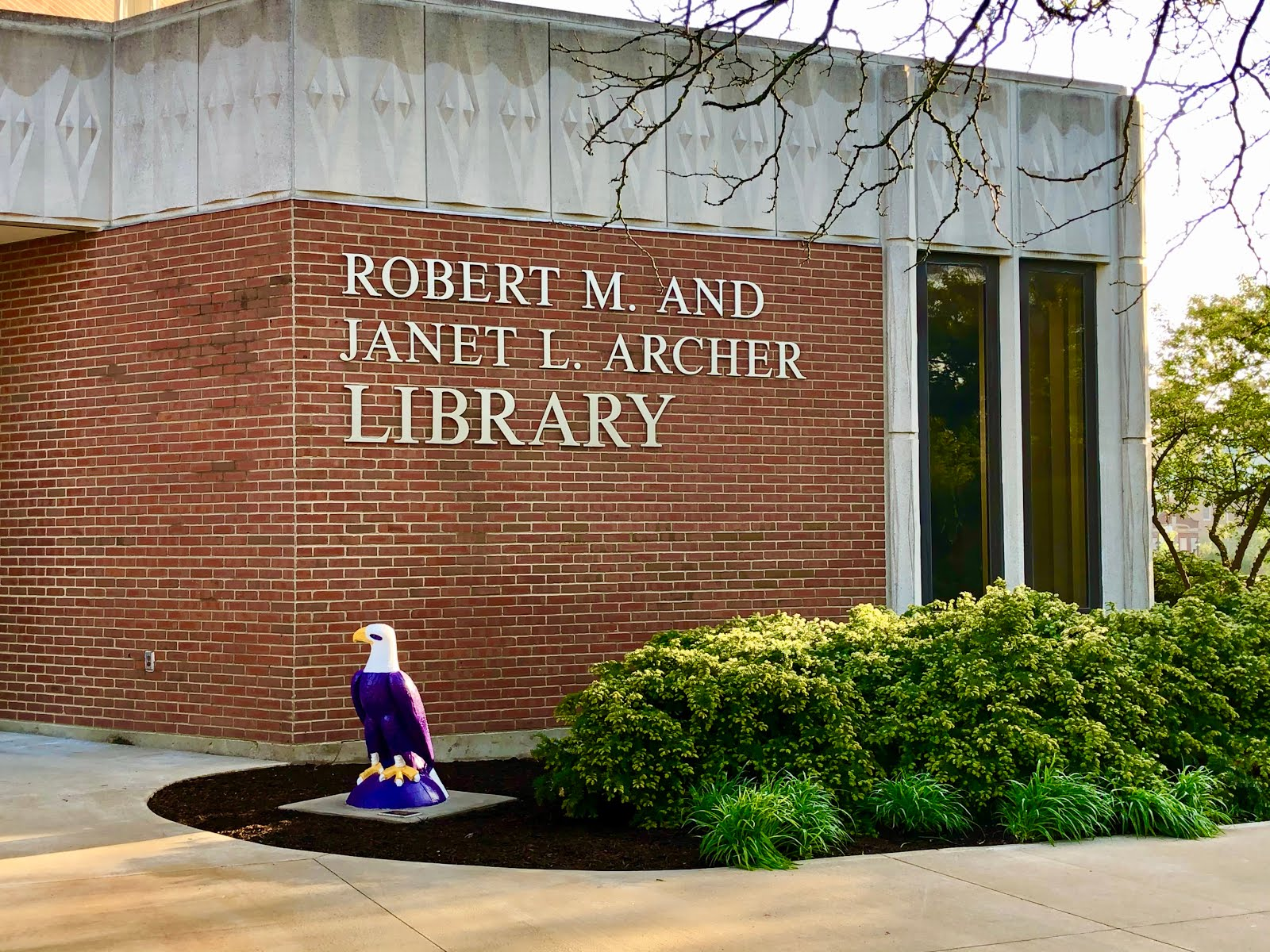 Archer Library Sign and Eagle Statue