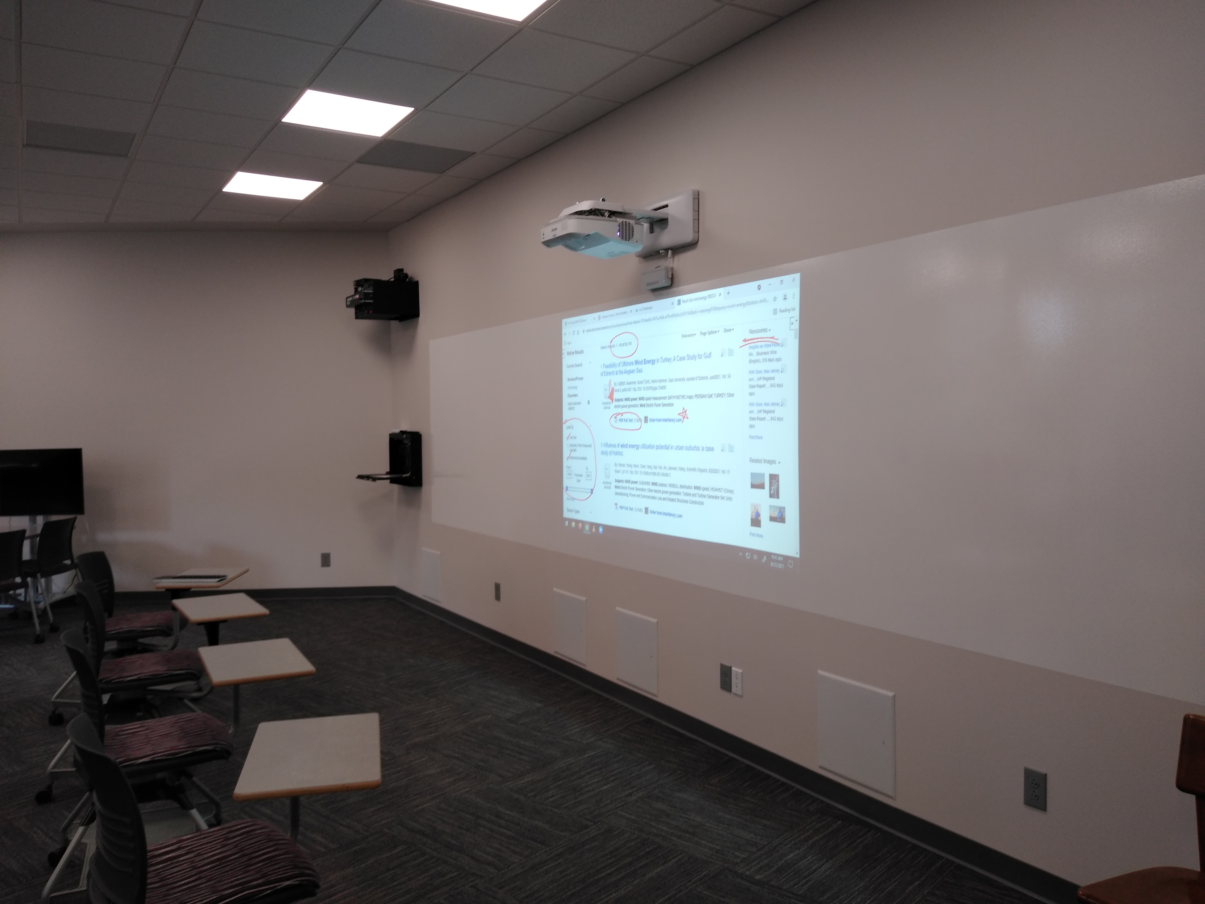 Whiteboard and projector