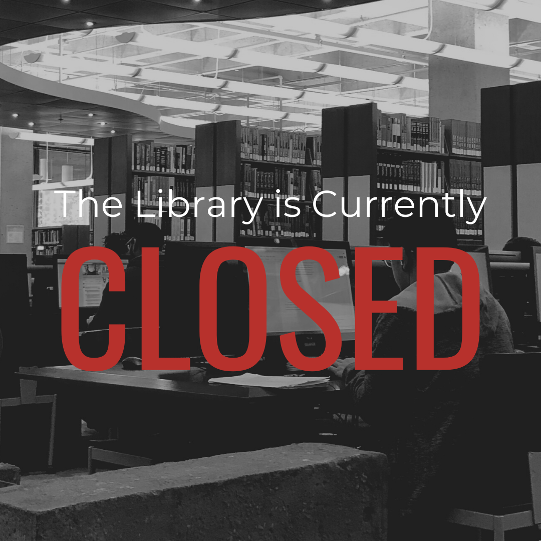 "Black and white image of people in a library with text ""the library is currently closed"""