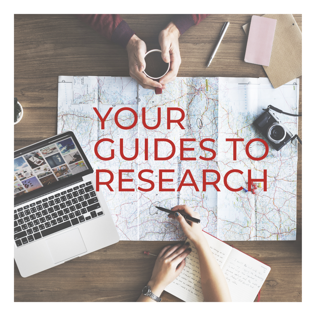 Image of hands over a map with text - Your Guides to Research