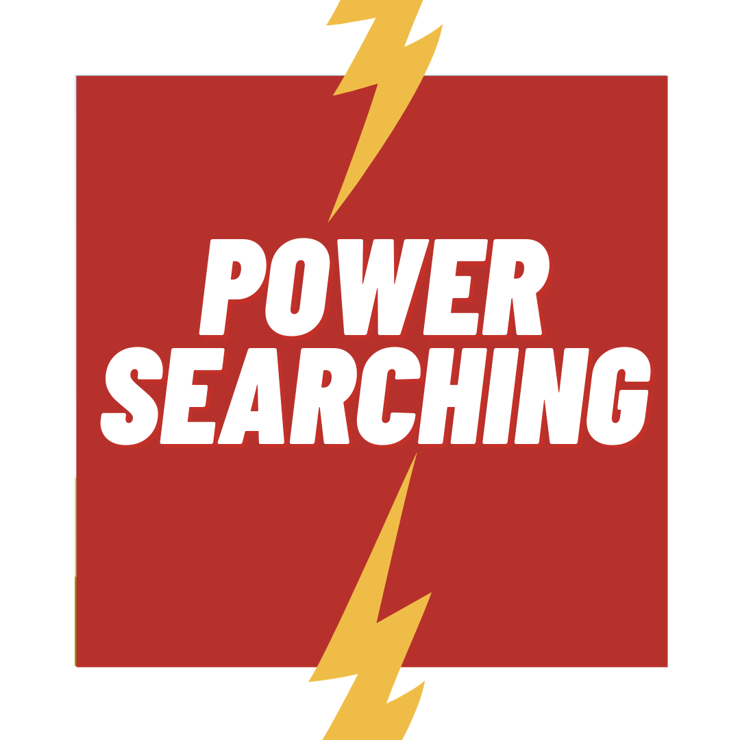 Red square graphic of lightning bolts with text - Power Searching