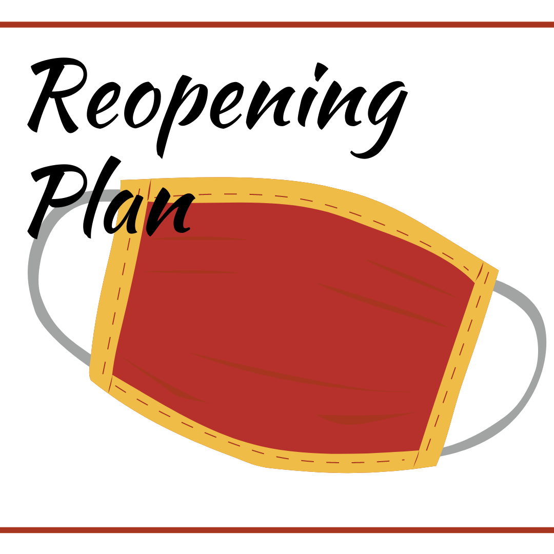 "Graphic of a face mask with text ""Reopening Plan"""