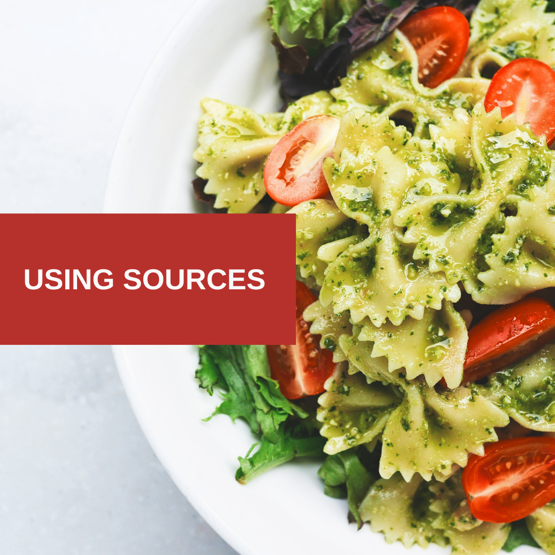 Image of pasta salad with text - Using Sources