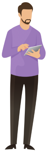 avatar graphic image representing a male searching for an e-book on his tablet