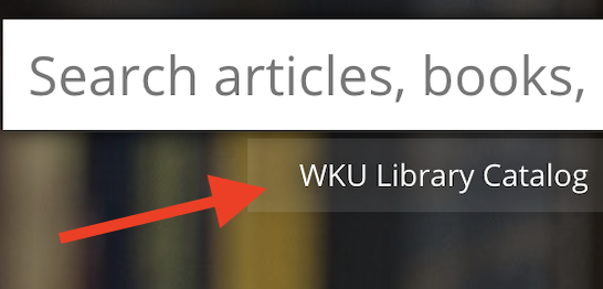 closeup screen shot of the WKU Libraries Catalog tab on our website