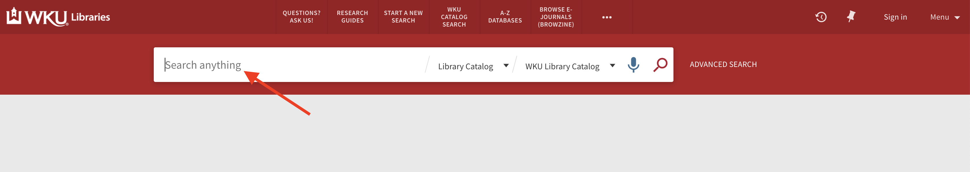 Screenshot of the search box on our WKU Libraries website