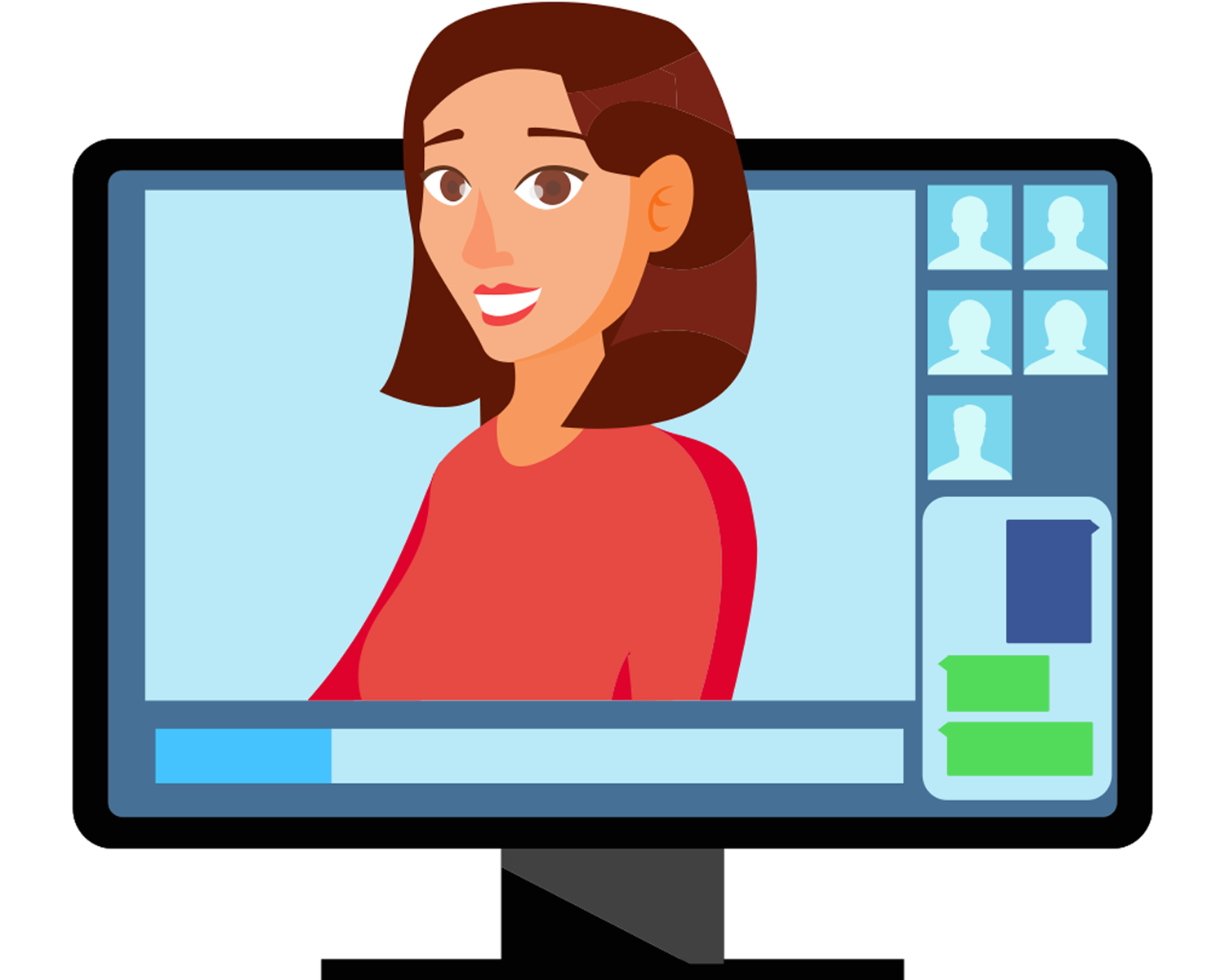 avatar representing a virtual librarian ready to answer your questions virtually.