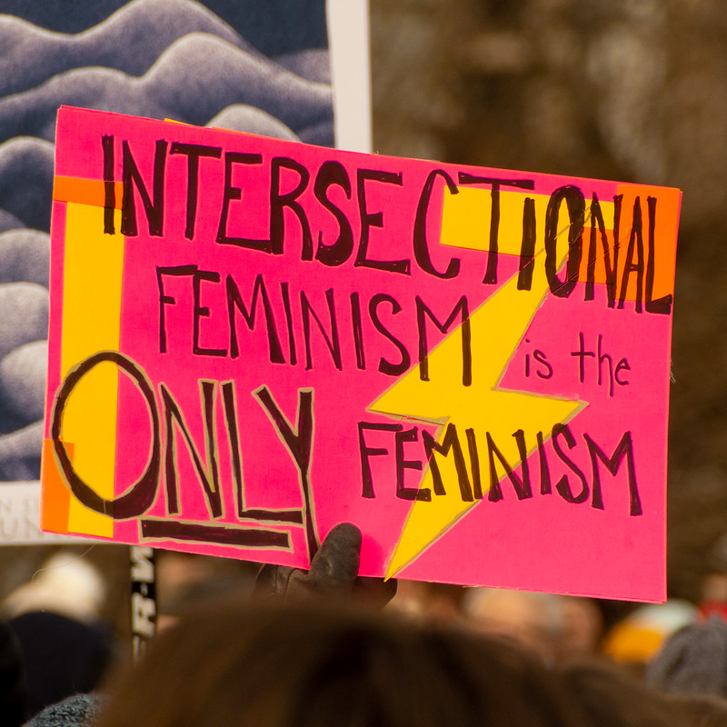"""protest sign saying """"intersectional feminism is th eonly feminism"""""""