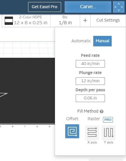 screenshot of location of manual option under cut settings