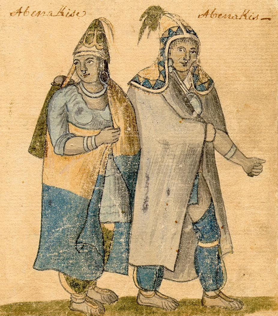 Abenaki couple antique painting of two native american people