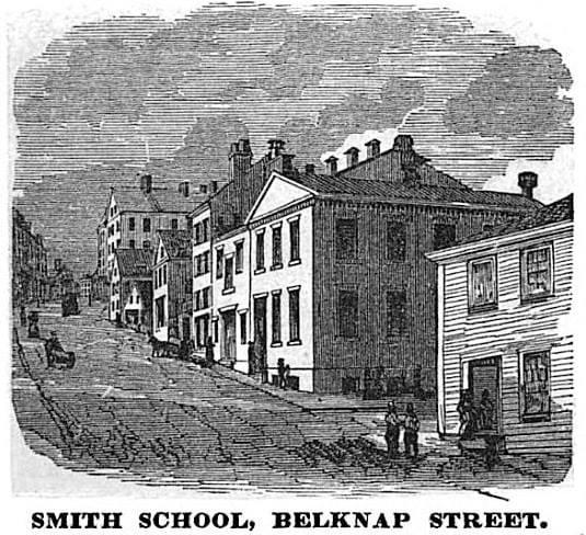 street scene print of smith school building
