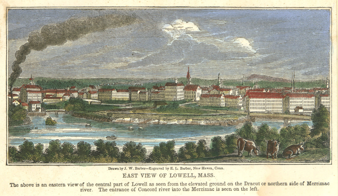 1839 View of Lowell from Centralville by Barber