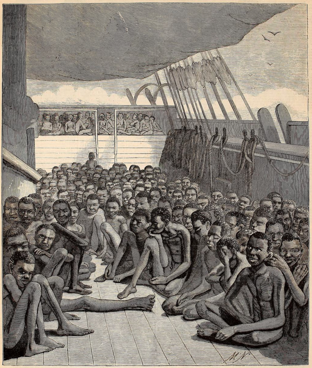 antique print of slaves on shipboard