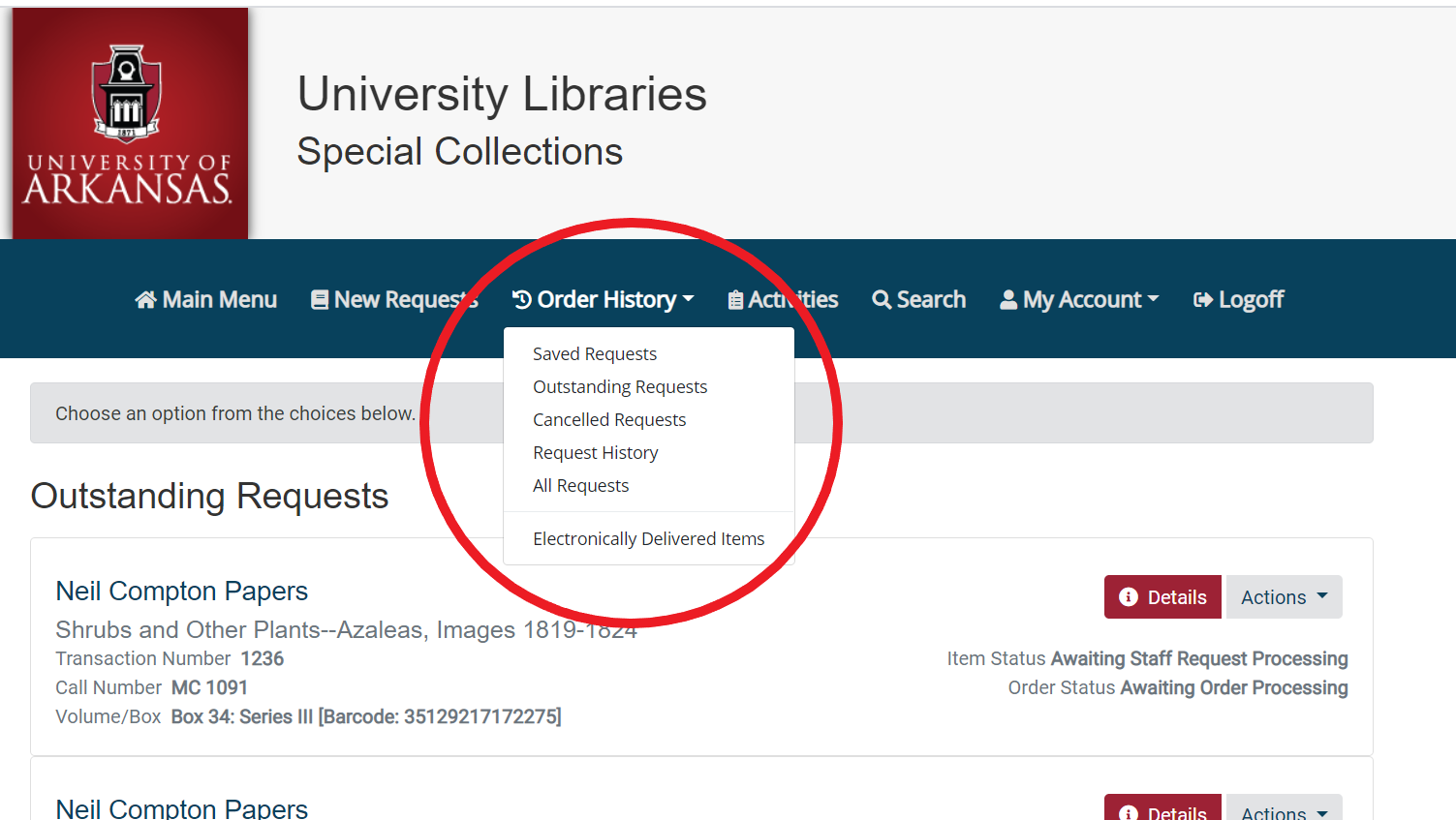 screen shot of Electronically Delivered Items menu option in Aeon account