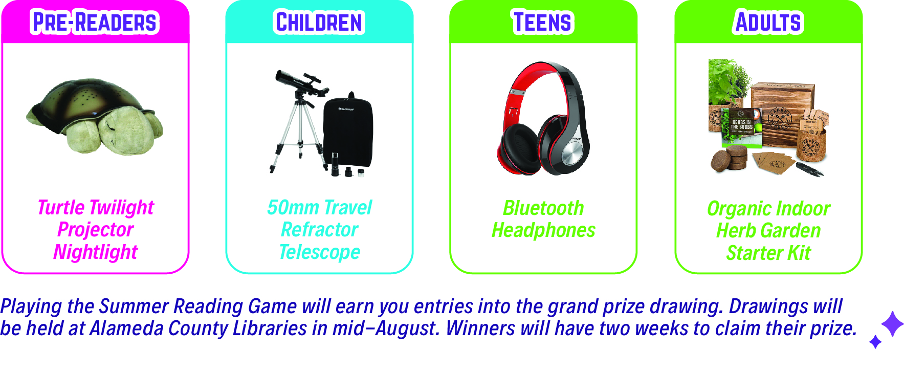Grand prizes. Pre-reader projector turtle. Children telescope. Teen bluetooth headphones. Adult indoor herb garden.