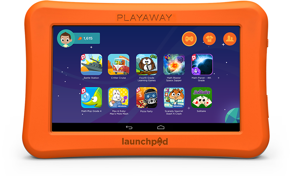 Launchpad tablet with orange border and screen displaying children's content